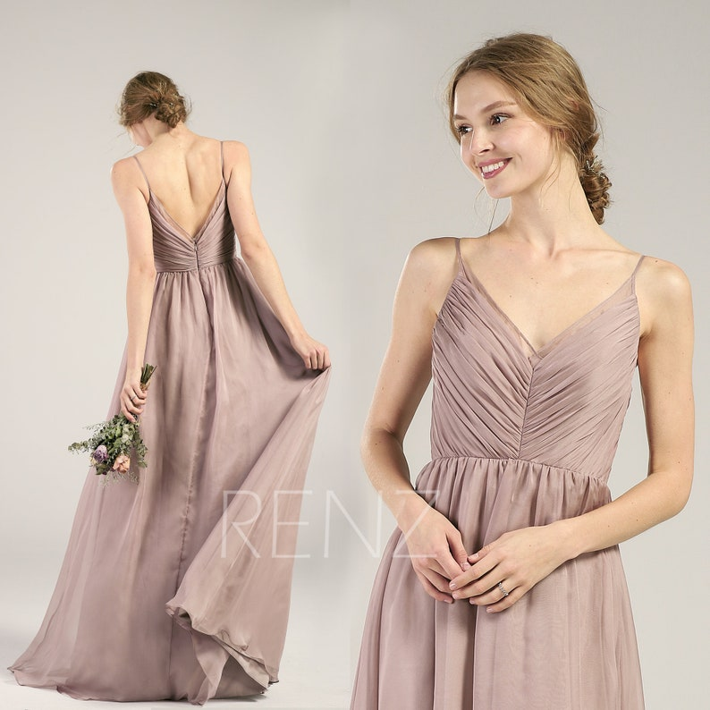 8e22ae7ed77 Rose Gray Chiffon Bridesmaid Dress Pleated Wedding Dress