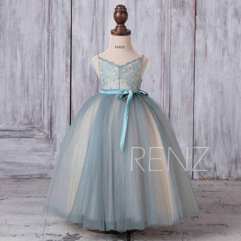 cbae52635b5 Flower Girl Dress Dusty Blue Rustic Flower Girls Dresses Tulle