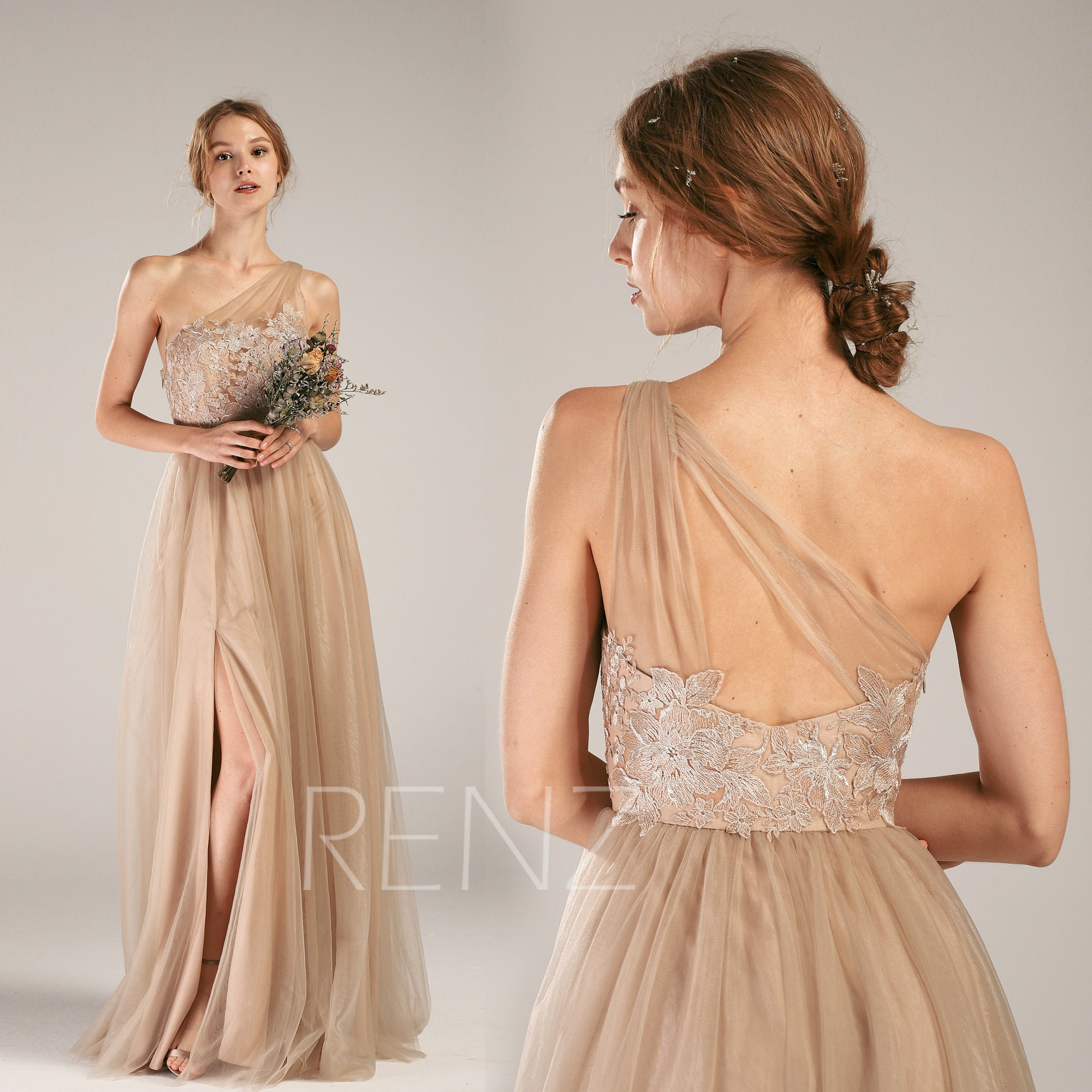 51c8b06a793 Bridesmaid Dress Pale Khaki Tulle Prom Dress One Shoulder