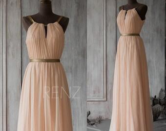 Peach Chiffon Bridesmaid Dress,Sleeveless Maxi Dress,Wedding Dress,Ruched A Line Evening Dress,Mix & Match Party Dress(F066A1)-Renzrags