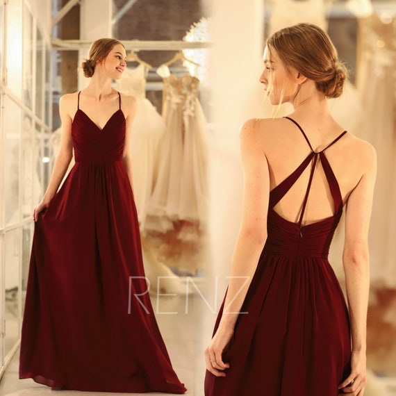 Bridesmaid Dress Burgundy Chiffon Wedding Dress Spaghetti Strap Prom Dress V Neck Formal Dress A Line Maxi Dress Ruched Party Dress(H289B)