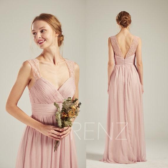 latest discount new photos detailing Party Dress Blush Chiffon Bridesmaid Dress Wedding Dress V Neck Maxi Dress  Illusion Lace V Back Prom Dress Long A-line Formal Dress(L500)