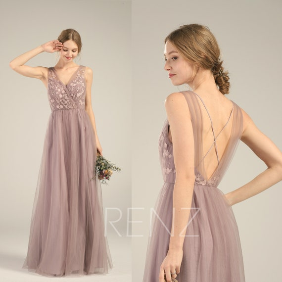 5506ce87325 Bridesmaid Dress Dark Mauve V Neck Lace Wedding Dress Long