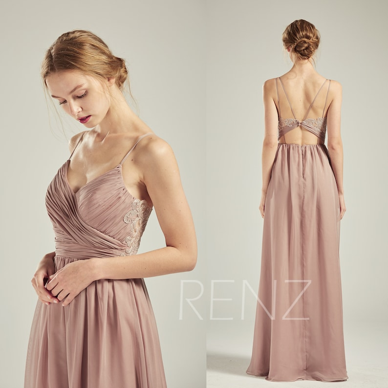 175f22f7c8a Prom Dress Rose Gray Chiffon Bridesmaid Dress Spaghetti Strap