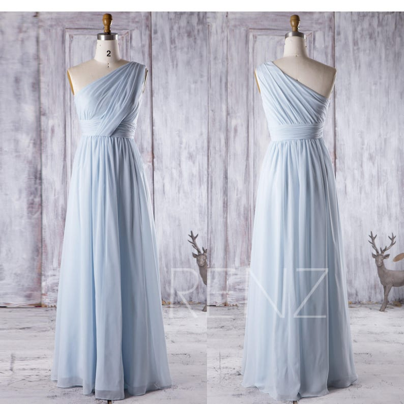 7085c9f01da Bridesmaid Dress Light Blue Chiffon Dress Ruched One Shoulder