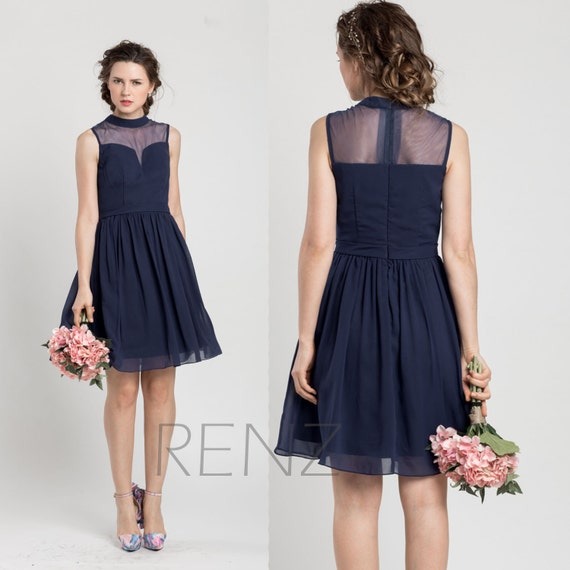 Party Dress Navy Blue Bridesmaid Dresssweetheart Cocktail Etsy