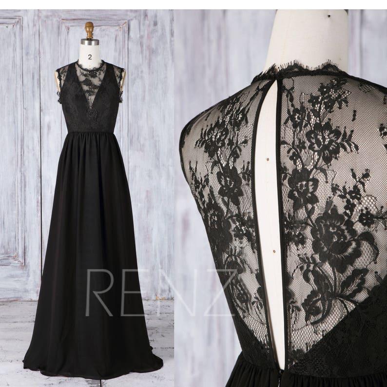 fcb314ffb97 Bridesmaid Dress Black Chiffon Wedding Dress Illusion Deep V
