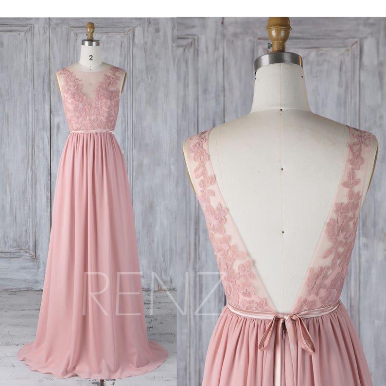 639a6f76af Bridesmaid Dress Dusty Rose Chiffon Party DressWedding Dress