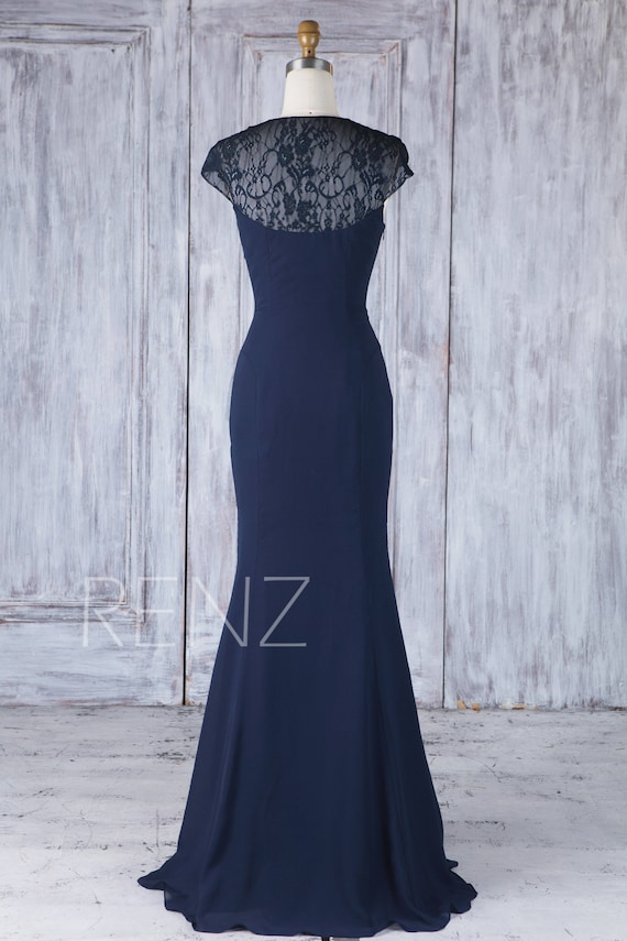 Bridesmaid Dress Navy Blue Wedding Dress Lace Cap Sleeve Maxi Dress Illusion Full Back Fitted Prom Dress Ruched V Neck Mermaid Dress H539
