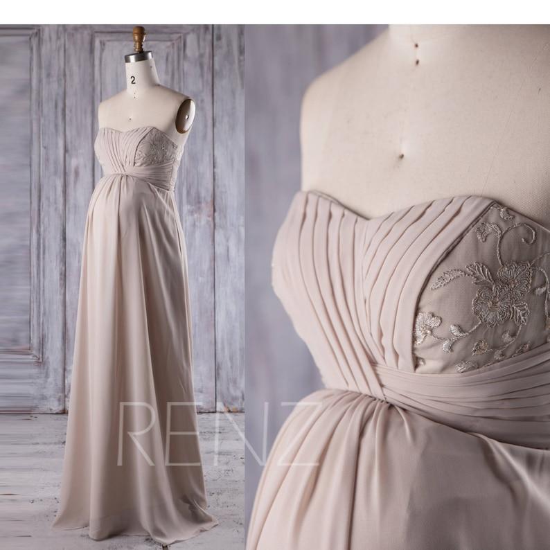 26afe741486 Maternity Bridesmaid Dress Cream Chiffon PregnancyDress Open