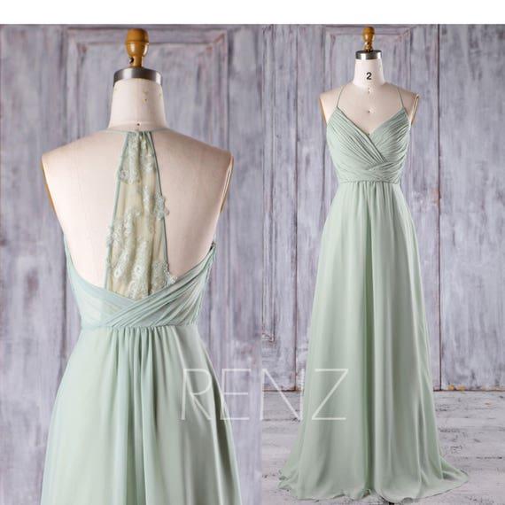 Prom Dress Dusty Mint Chiffon Dress Bridesmaid Dress Wedding Dress V neck Halter A line Party Dress Ruched Top Lace Back Evening Dress(H403)