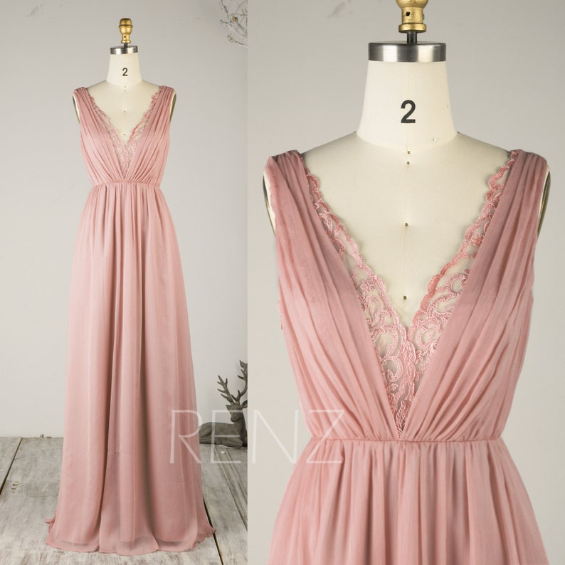 ce8f1195f9c Prom Dress Dusty Rose Chiffon Bridesmaid Dress Illusion Lace V