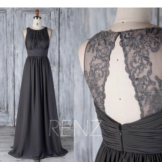 Bridesmaid Dress Black Chiffon Wedding Dress Illusion Lace Prom Dress Ruched Boat Neck Maxi Dress Backless A Line Party Dressh489a