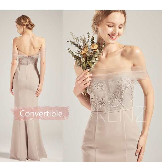 Bridesmaid Dress Taupe Mermaid Wedding Dress Convertible Off the Shoulder Lace Fitted Prom Dress Sweetheart Sheath Chiffon Party Dress(H720)
