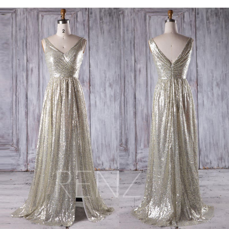 1a513b6afbd Party Dress Gold Silver Sequin Bridesmaid Dress Ruched V Neck