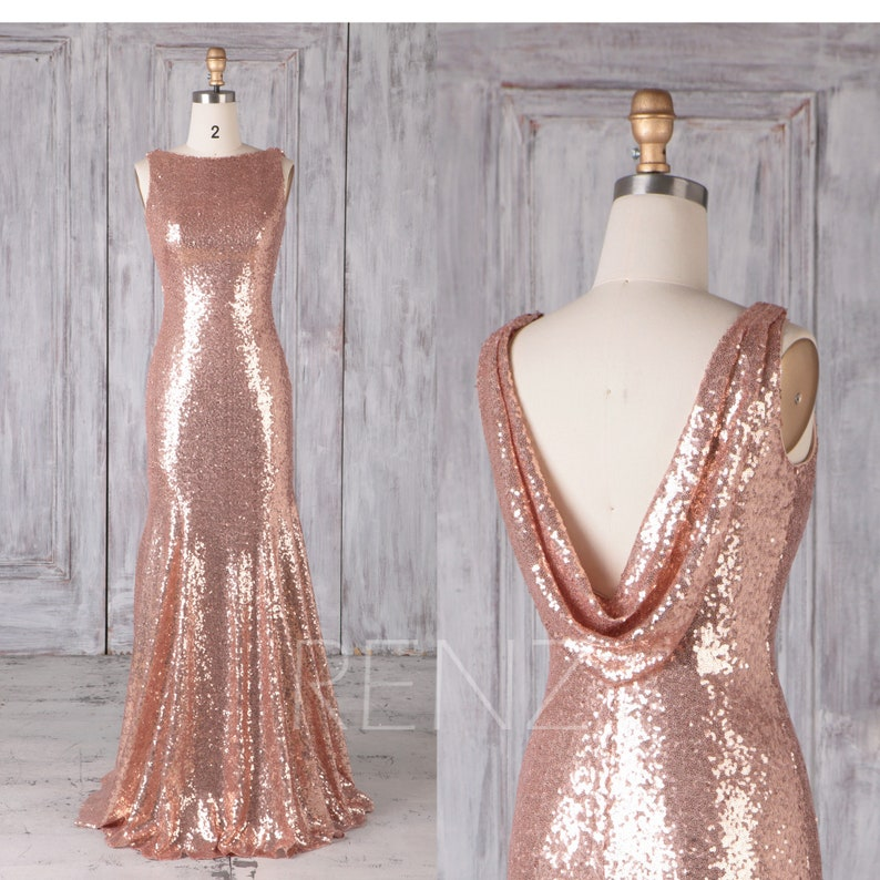bf29a0eb Mermaid Dress Rose Gold Sequin Bridesmaid Dress Wedding Dress | Etsy