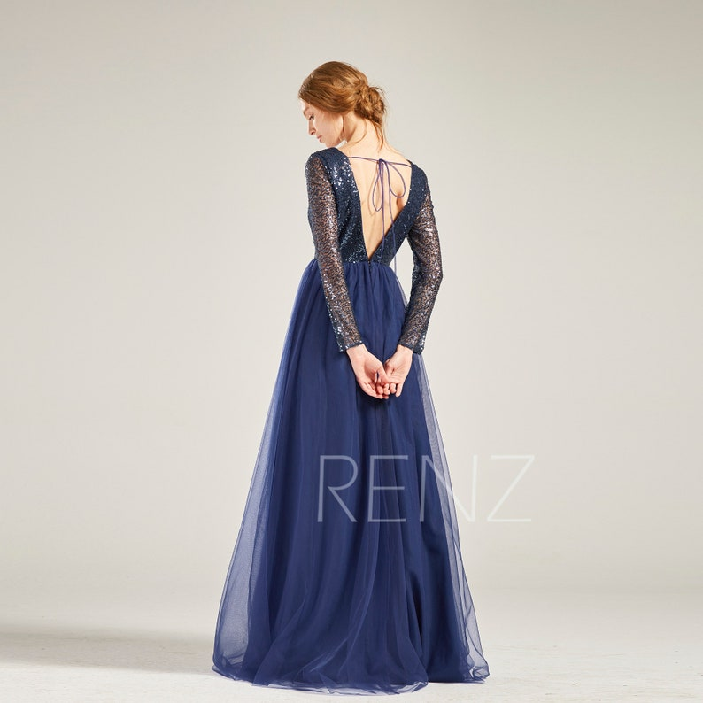 29c6dd2b8e8 Party Dress Navy Sequin Tulle Dress Long Sleeve Bridesmaid