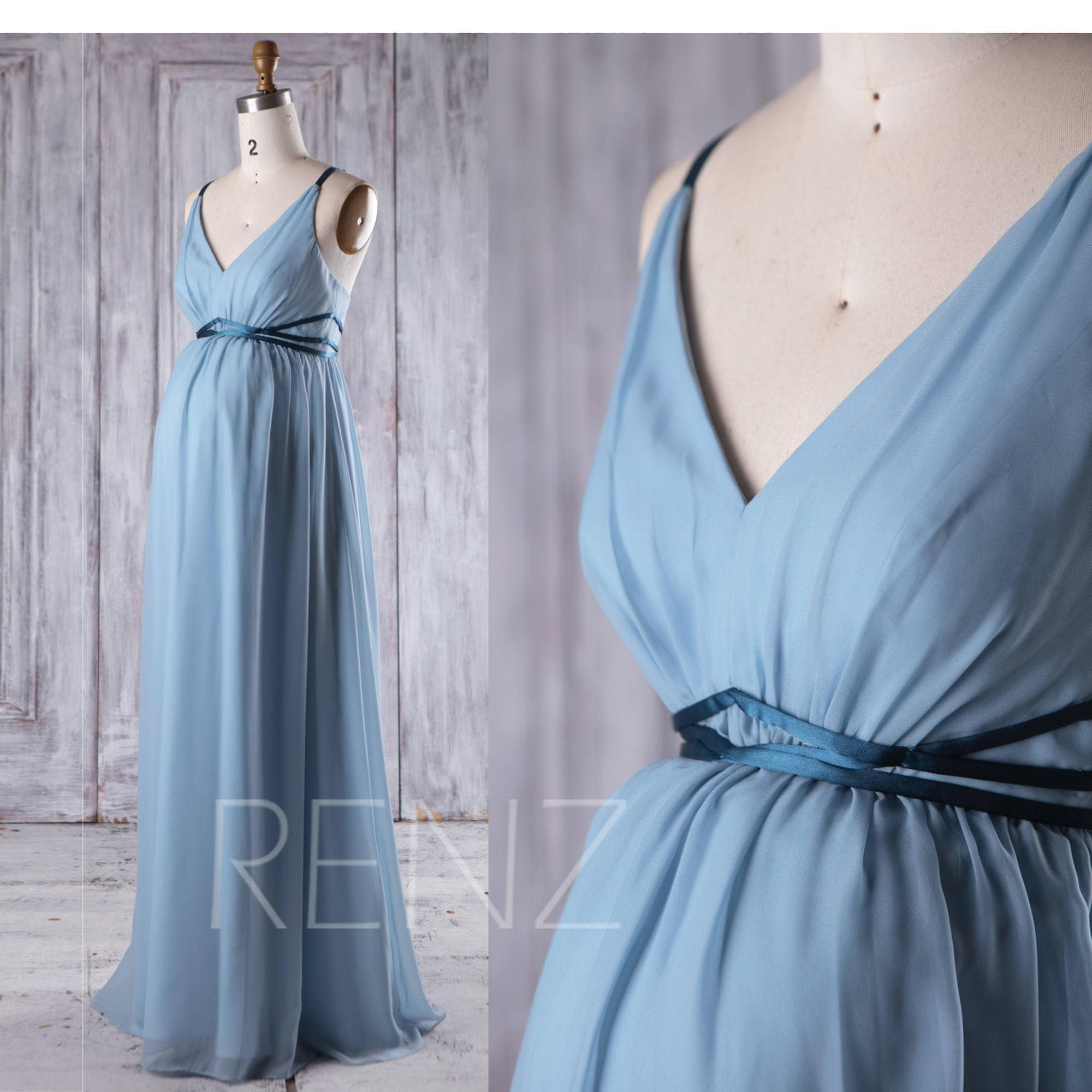 Maternity Bridesmaid Dress Dusty Blue Chiffon PregnancyDress | Etsy
