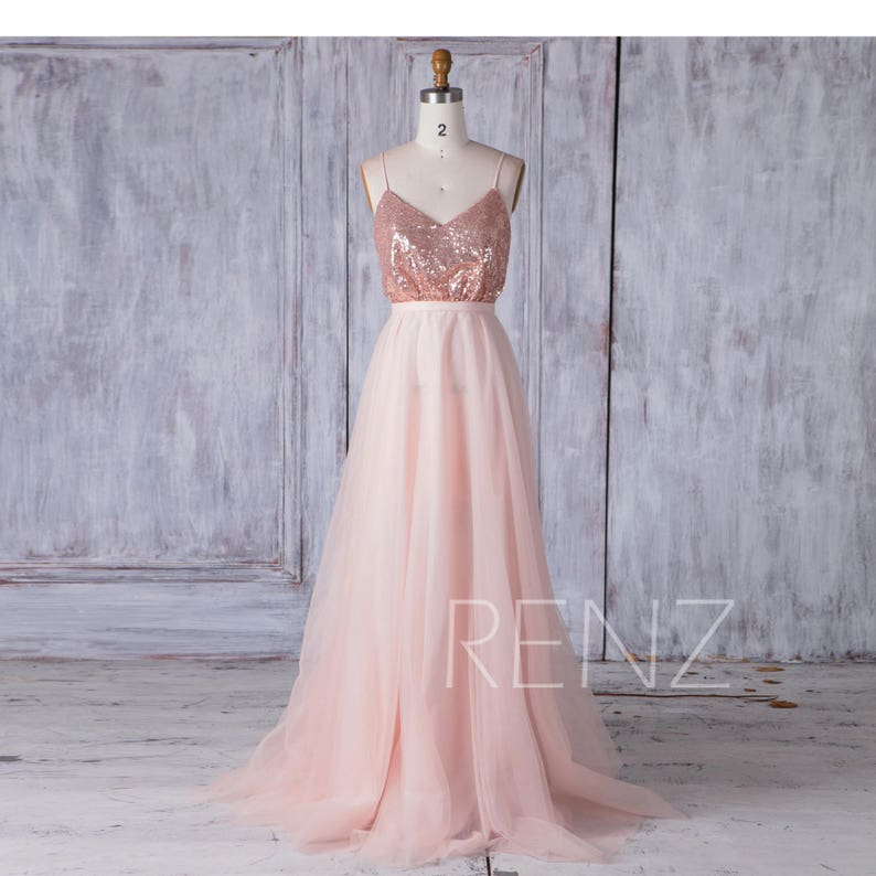 0c6b8090ba Rose Gold Sequin Bridesmaid Dress A Line Tulle Wedding Dress V