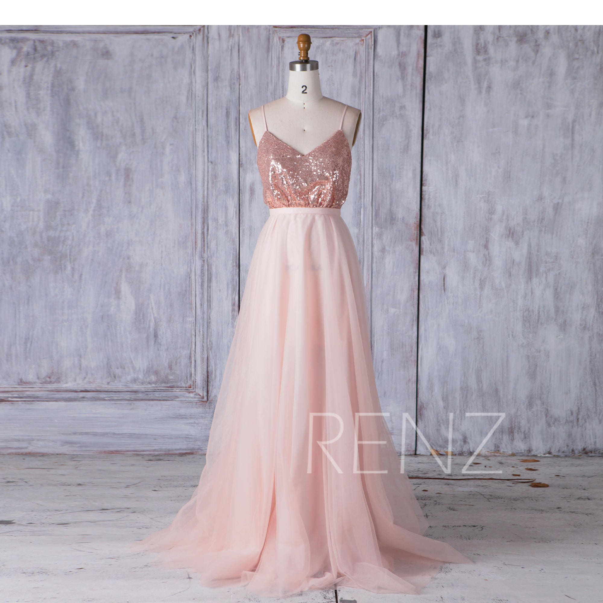 cda25bfc1f Rose Gold Sequin Bridesmaid Dress A Line Tulle Wedding