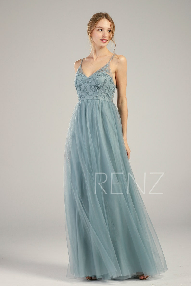 Bridesmaid Dress Dusty Blue Lace Wedding Dress V Neck Spaghetti Strap Illusion Lace-up Back A-line Tulle Prom Dress -HS736 Ready-to-Ship