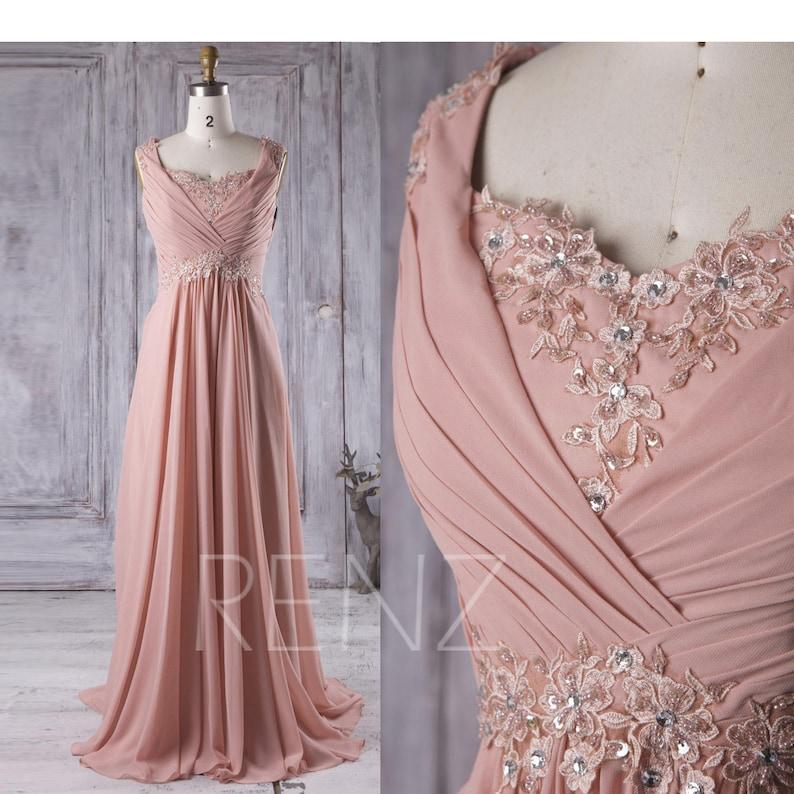 e5006b214ac4a Party Dress Blush Chiffon Bridesmaid Dress Beaded Lace | Etsy