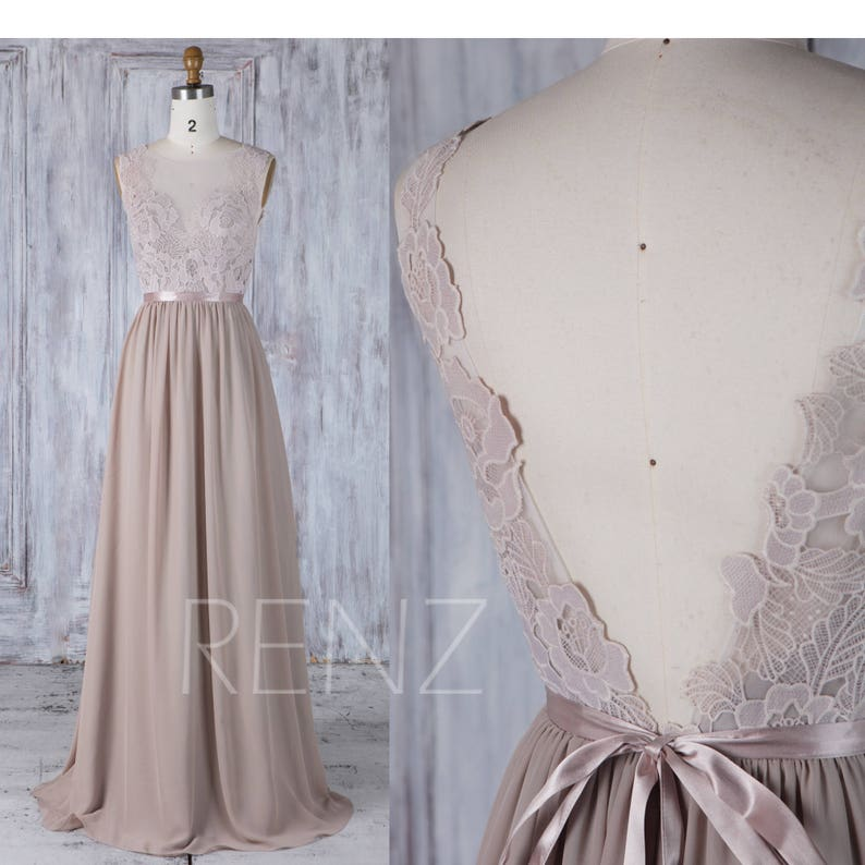 47a796d173f Bridesmaid Dress Taupe Long Lace Boho Wedding Dress V Back