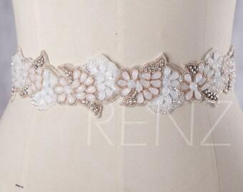 Off White Beading Wedding Sash, Bridal Belt, Bridal Sash, Bridesmaids Sash Crystal Sash Jewelly Belt (LA175)