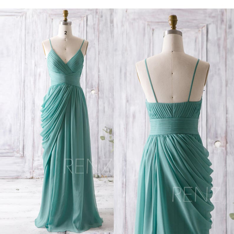 d31576f83b Bridesmaid Dress Dusty Teal Chiffon Dress Wedding Dress V Neck