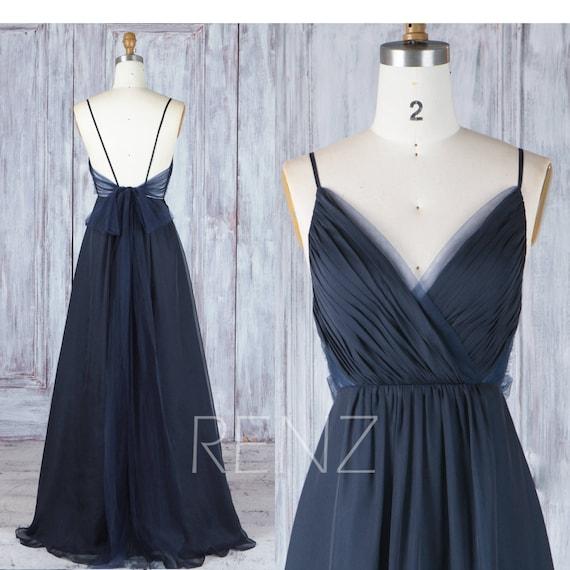 Bridesmaid Dress Navy Blue Chiffon Dress Wedding Dress Spaghetti Strap Prom Dress Ruched V Neck Maxi Dress Long A Line Party Dress H547a