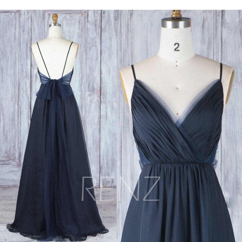 31b63d0f3c0 Bridesmaid Dress Navy Blue Chiffon Dress Wedding Dress