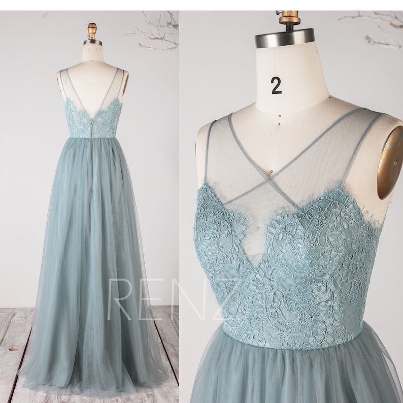 23d420e41ed Party Dress Dusty Blue Tulle Bridesmaid Dress Wedding Dress