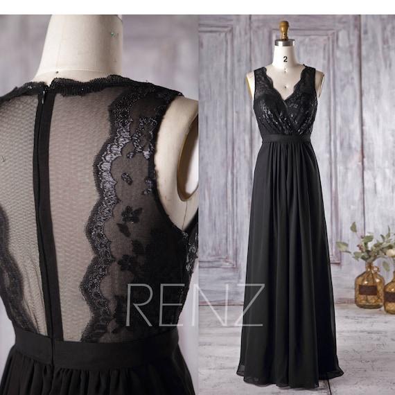 Black Chiffon Bridesmaid Dress V Neck Lace Wedding Dress Long Illusion Neck Prom Dress Tulle Back Evening Gown Floor Length H229