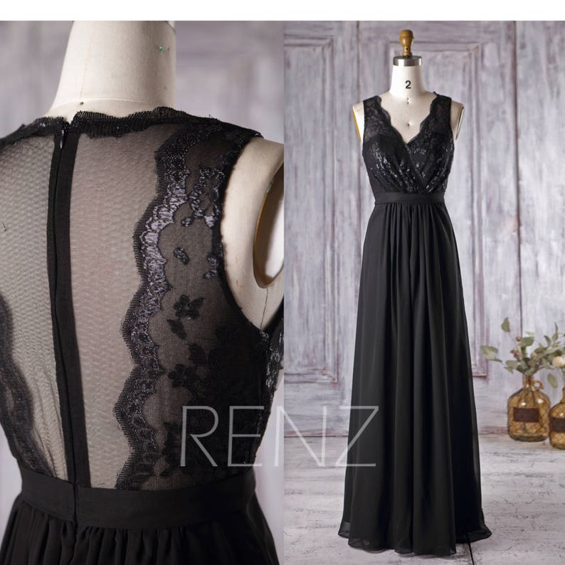 044c8d43455 Black Chiffon Bridesmaid Dress V Neck Lace Wedding Dress Long