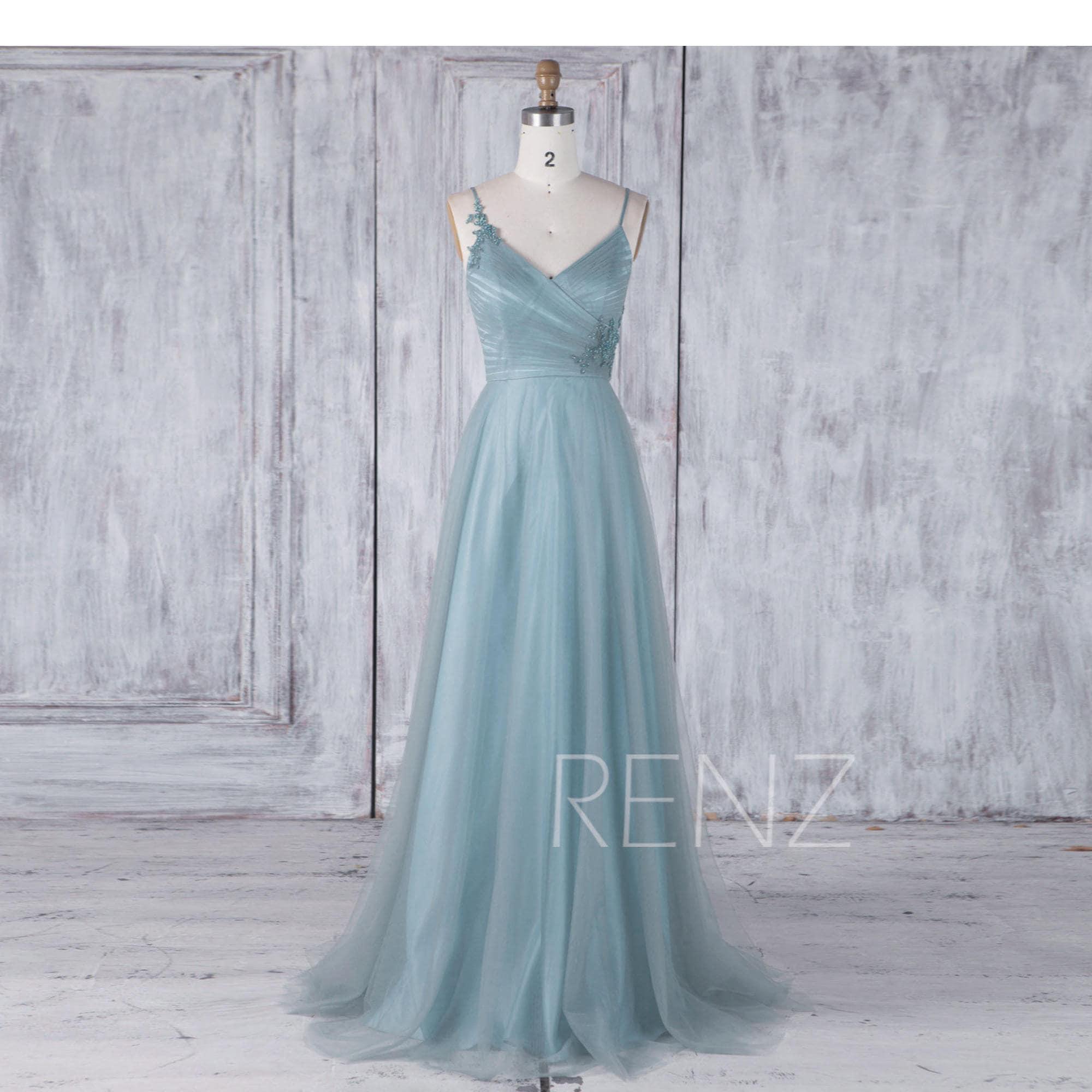 Bridesmaid Dress Dusty Blue Tulle DressSpaghetti Strap
