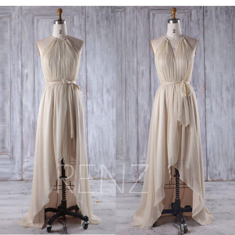 352ec6f6e2d3 Champagne Chiffon Bridesmaid Dress Ruched Convertible Neck | Etsy