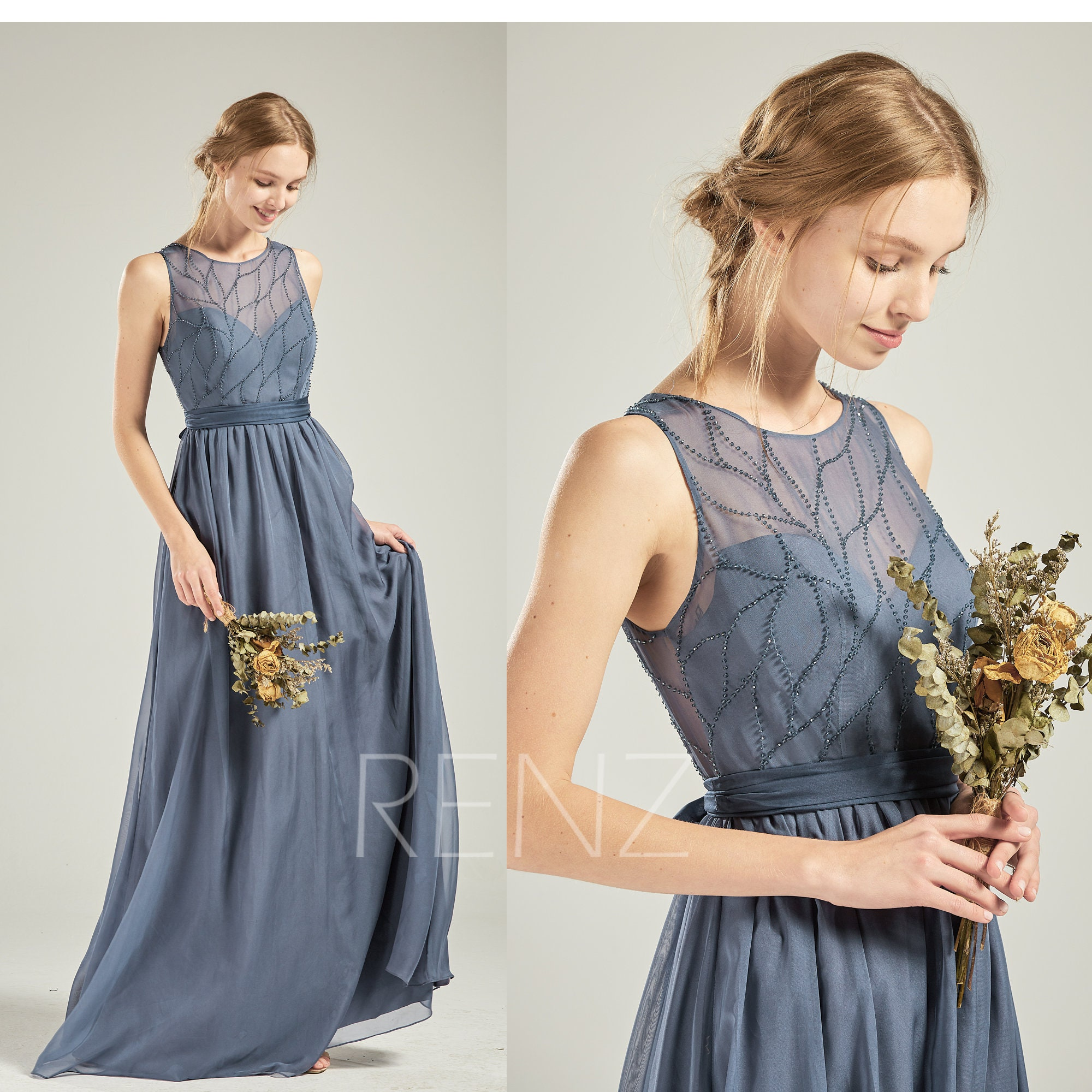 0d039d845c97 Bridesmaid Dress Dark Steel Blue Chiffon Dress Wedding Dress | Etsy