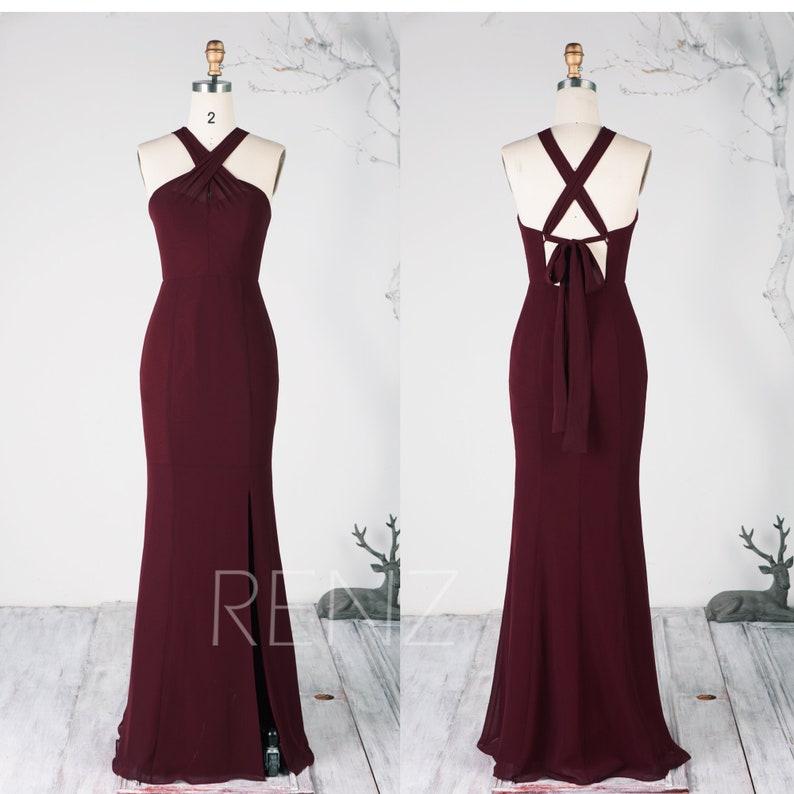 88d3cd6021e3 Party Dress Maroon Chiffon Prom Dress Adjustable Criss Cross | Etsy