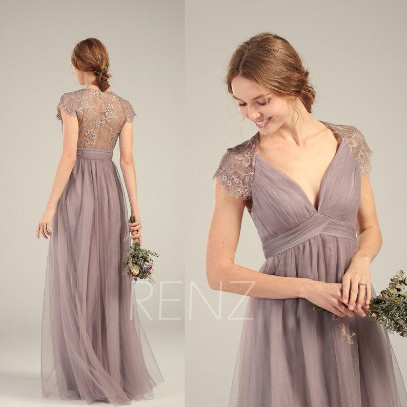 c8ebc1951a24 Mauve Bridesmaid Dress Tulle Prom Dress Long Empire Waist | Etsy