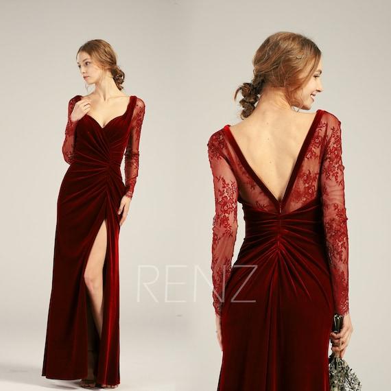 Velvet Dress Wine Long Sleeve Mother of the Bride Dress Fitted Sweetheart  Lace Wedding Dress (HV426)
