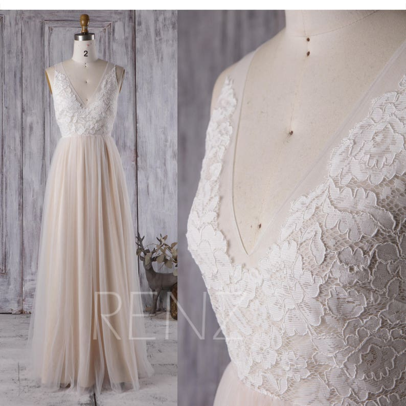 Boho Wedding Dress White Lace Long Sleeve Bridesmaid Dress image 0