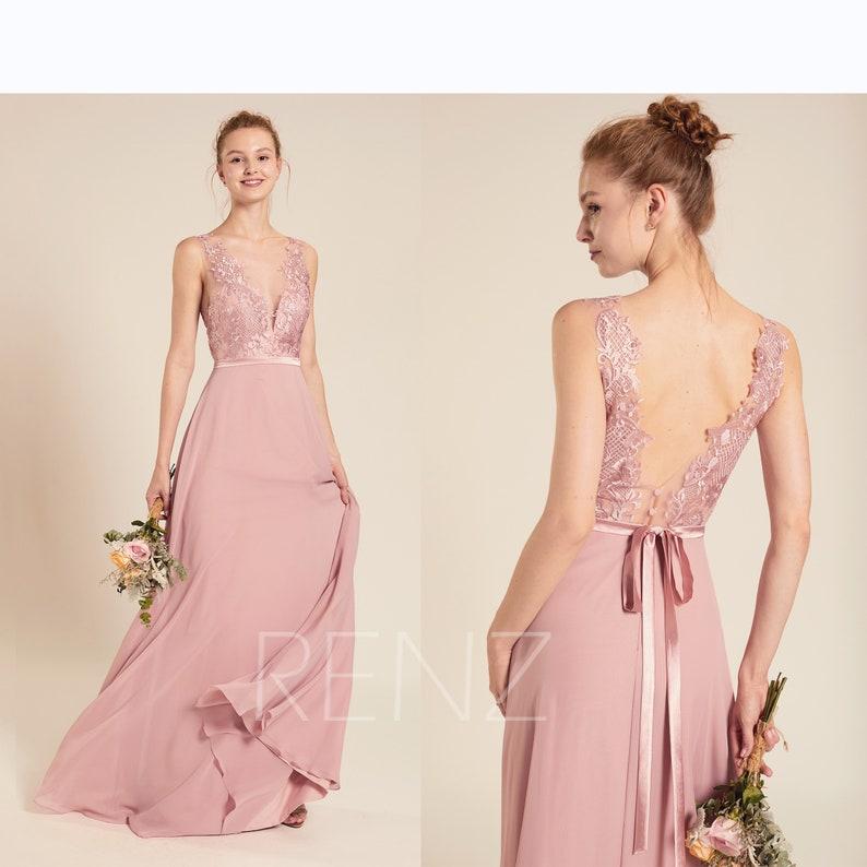 2d668582d76 Bridesmaid Dress Dusty Rose Chiffon Dress Wedding Dress