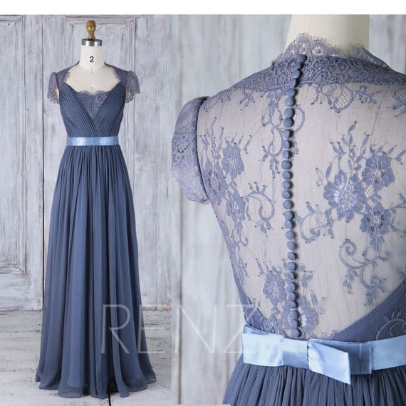 Bridesmaid Dress Dark Steel Blue Chiffon Wedding Dress Lace Etsy