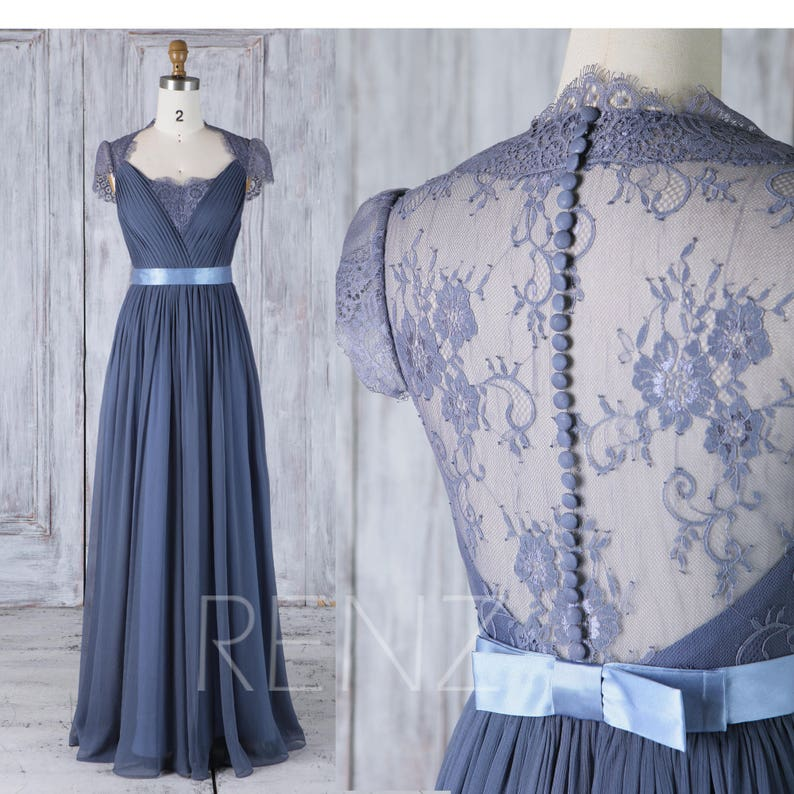 d83e80d9ed39 Bridesmaid Dress Dark Steel Blue Chiffon Wedding Dress Lace | Etsy