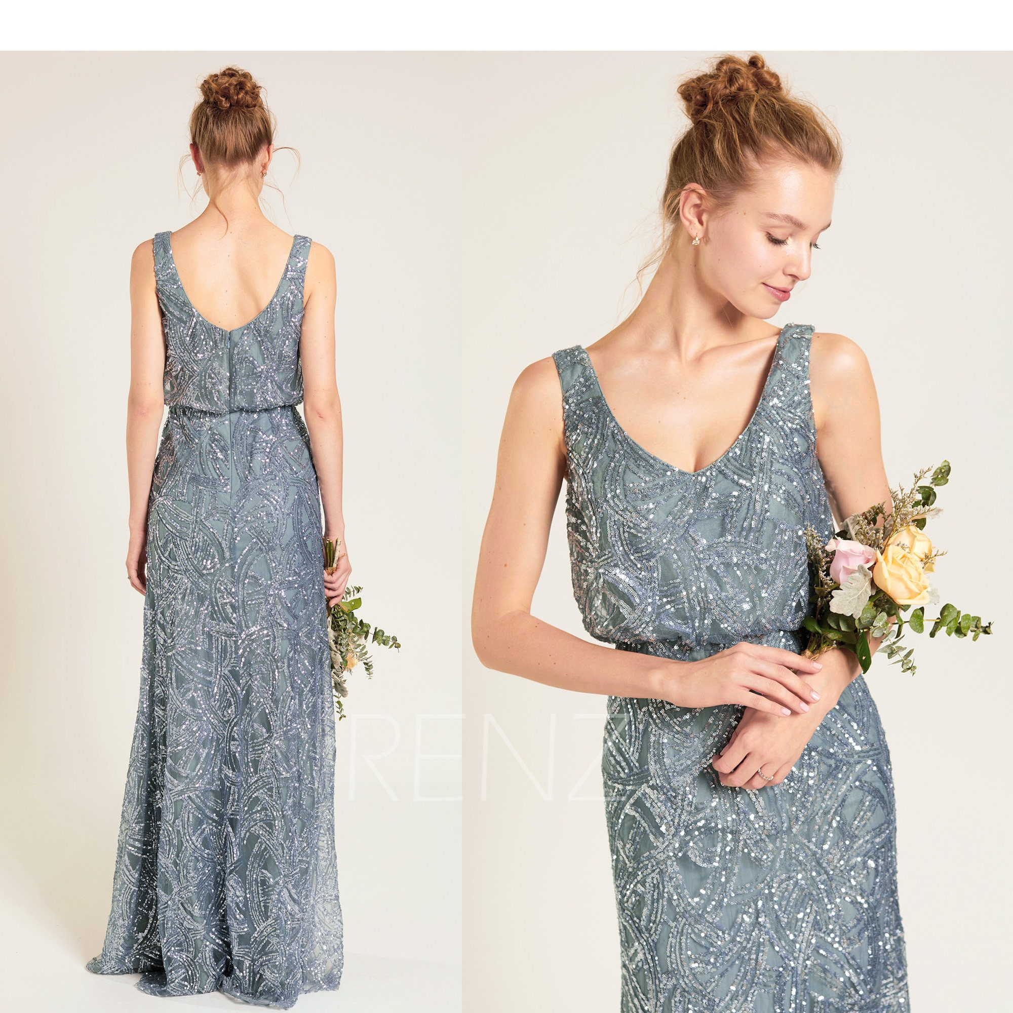 ebe7a612830 Party Dress Dusty Blue Sequin Bridesmaid Dress Wedding Dress V