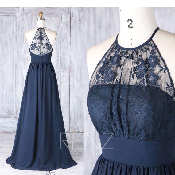 Bridesmaid Dress Navy Blue Chiffon Dress Wedding Dress Halter Prom Dress Illusion Lace Key Hole Back Maxi Dress A Line Party Dress H516a
