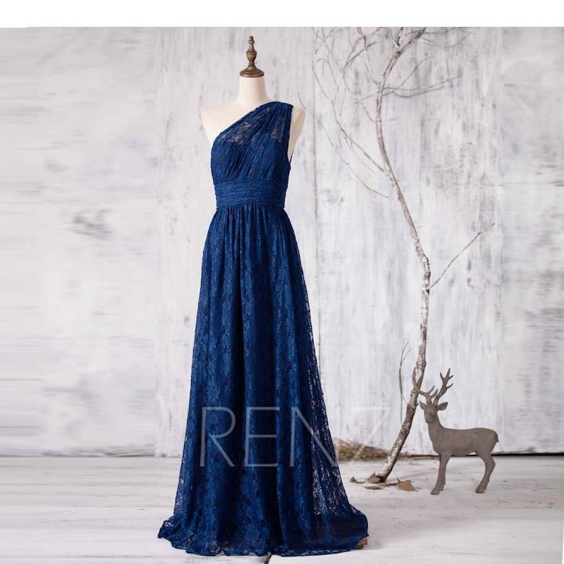 4ea9311406 Long Formal Dress Navy One Shoulder Lace Bridesmaid Dress