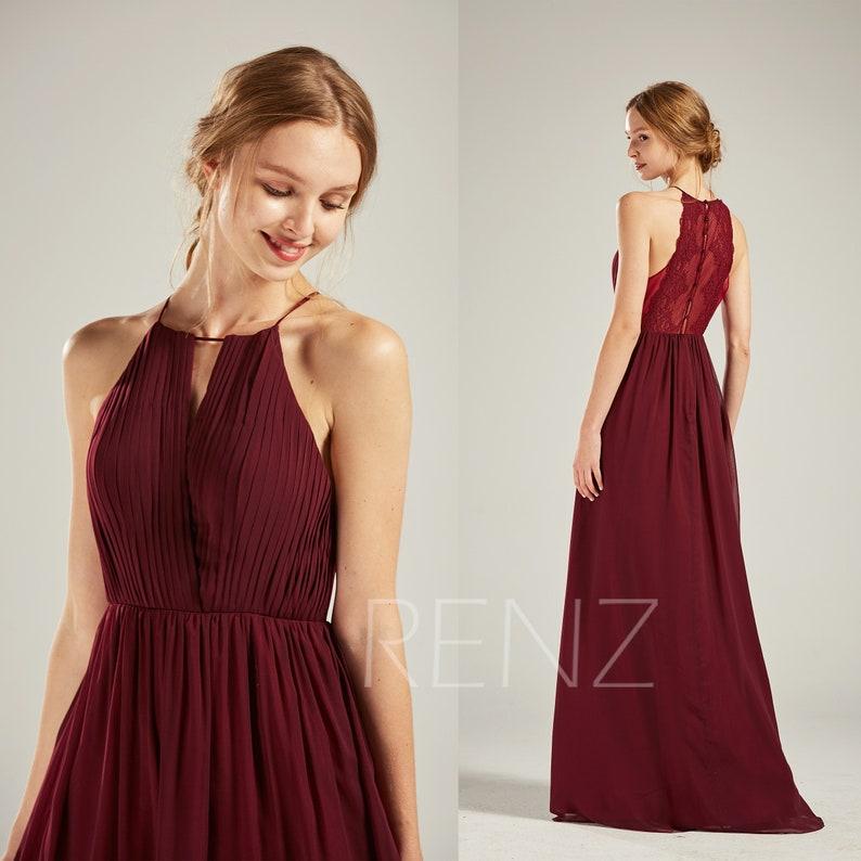 ba387b0b3a Prom Dress Wine Chiffon Bridesmaid Dress Wedding Dress Halter | Etsy