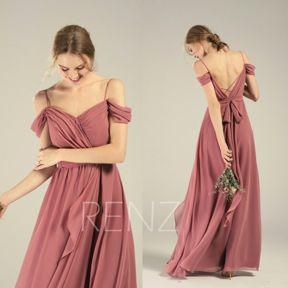 Bridesmaid Dress Dusty Rose Cold Shoulder Wedding Dress Beach Backless Lapped Ruffle Long Prom Dress (L542)