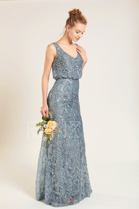 Bridesmaid Dress Dusty Blue Sequin Dress,Wedding Dress,V Neck Fitted A-line Party Dress,Sleeveless Maxi Dress,Long Luxury Prom Dress
